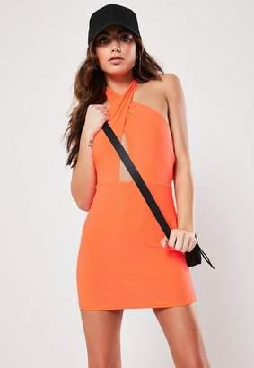 Missguided Orange Cross Front Halterneck Mini Dress, Orange