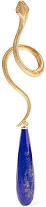 Lapis OLE LYNGGAARD COPENHAGEN - Snake 18-karat Gold, Lazuli And Diamond Earring