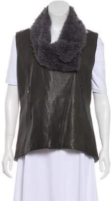 Brunello Cucinelli Sheepskin-Accented Leather Vest