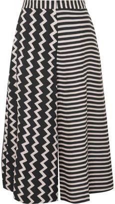 Stella McCartney Printed Silk-moire Culottes - Black