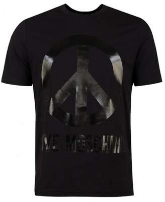 Moschino Tonal Peace Logo Regular Fit T-shirt Colour: BLACK, Size: XXL