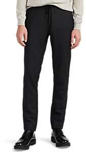 Barneys New York Men's Wool-Blend Flannel Slim Drawstring Trousers - Charcoal