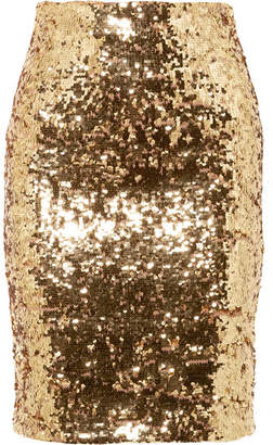 Alice + Olivia Alice Olivia - Ramos Sequined Stretch-tulle Skirt - Gold
