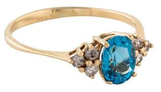 Ring 14K Diamond-Accented Topaz Cocktail
