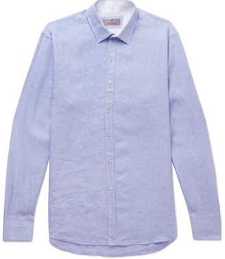 Canali Melange Linen Shirt - Blue