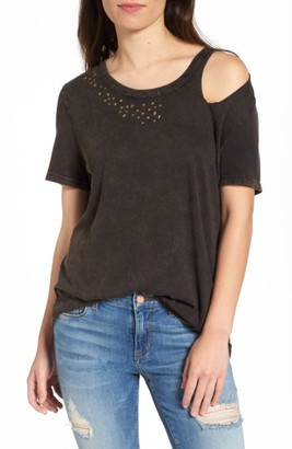 Women's Sun & Shadow Studded Cold Shoulder Tee $39 thestylecure.com