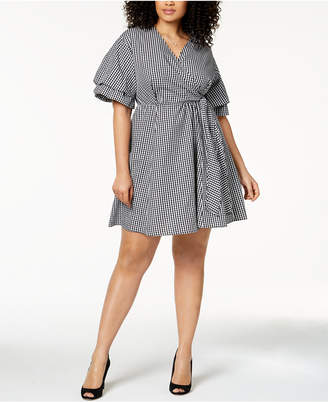 NY Collection Plus Size Cotton Gingham Wrap Dress