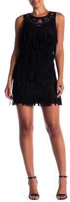 Flying Tomato Fringed Embroidered Faux Suede Mini Dress