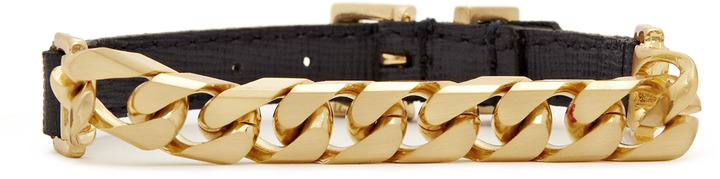 Reiss Charlot CHAIN AND LEATHER BRACELET