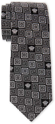 Versace Black & White Greek Key Slim Silk Tie