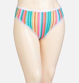 Avenue Multi-Stripe Cotton Hi Cut Panty with Lace