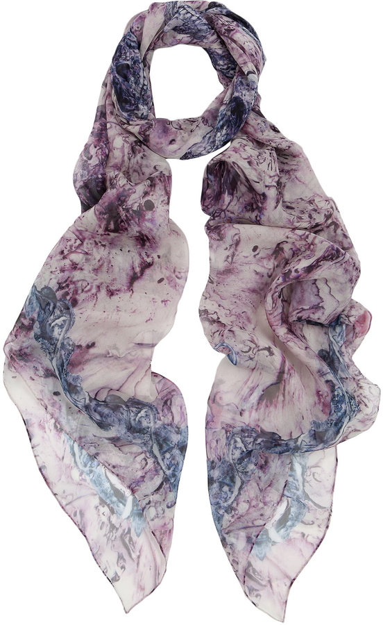 Purple and Blue Abstract Skull Print Scarf, Alexander McQueen