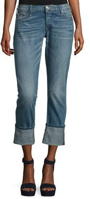 True Religion Liv Exaggerated-Cuff Low-Rise Relaxed Skinny Jeans, Indigo $199 thestylecure.com