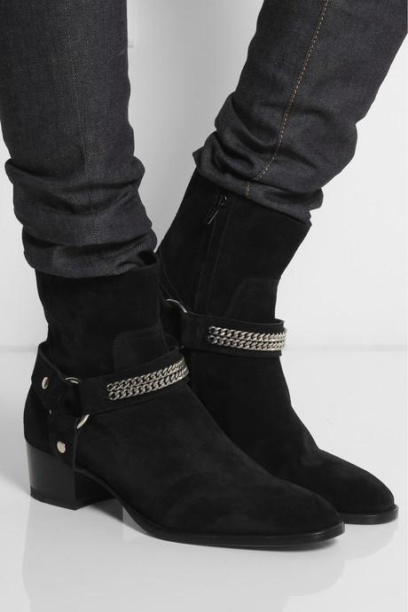 Saint Laurent Chain-trimmed suede ankle boots