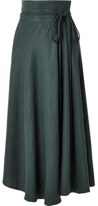 Apiece Apart Rosehip Tencel And Linen-blend Wrap Skirt - Green