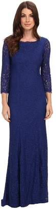 Adrianna Papell 3/4 Sleeve Lace Gown w/ Godet Skirt Women's Dress