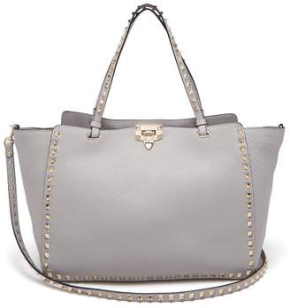 Valentino Rockstud Leather Medium Tote Bag - Womens - Light Grey
