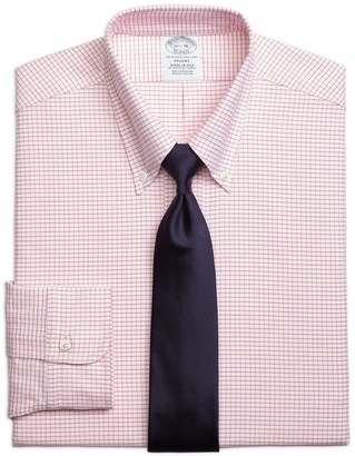 Brooks Brothers Original Polo Button-Down Oxford Regent Fitted Dress Shirt, Small Windowpane