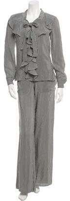 Oscar de la Renta Printed Silk Pantsuit w/ Tags $400 thestylecure.com