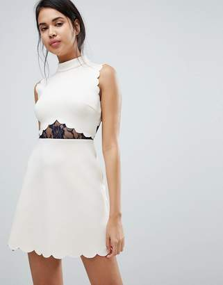 Asos Design Scallop & Lace A Line Mini Dress