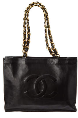 Chanel Black Lambskin Leather Flat Cc Chain Tote