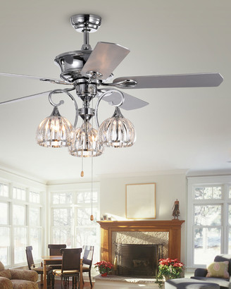 Nickel-Finished Ceiling Fan with Light Kit