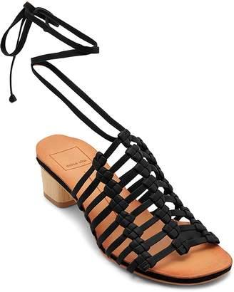 Dolce Vita Women's Leather Ankle Tie Low Heel Sandals