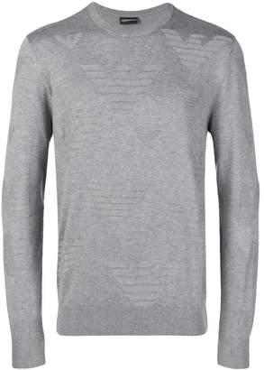 Emporio Armani embossed logo fine knit jumper