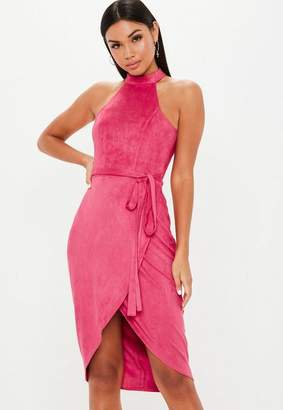 Missguided Hot Pink High Neck Suede Tie Midi Dress