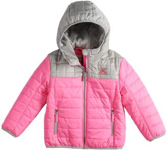 ZeroXposur Toddler Girl Midweight Hooded Colorblock Quilted Jacket