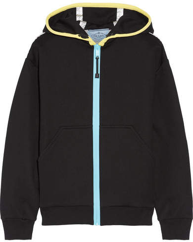 Prada - Leather-trimmed Cotton-blend Jersey Hooded Top - Black
