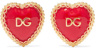 Dolce & Gabbana Gold-tone And Enamel Clip Earrings