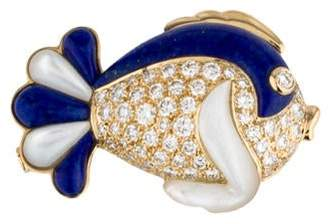 Lapis 18K Diamond & Fish Brooch