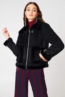NA-KD Na Kd Faux Suede Fur Jacket