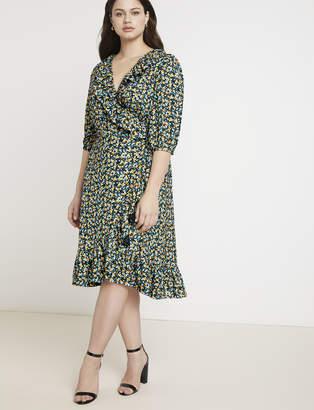 Jason Wu/ELOQUII Printed Ruffle Wrap Dress