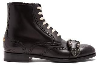 Gucci - Lace Up Leather Brogue Boots - Mens - Black Multi