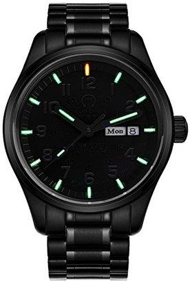 Carnival mensgreen Tritium光Military Dive防水クォーツ腕時計フルブラックスチールオス週Watches
