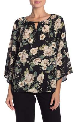 ZAC & RACHEL Patterned Chiffon Blouse w\u002F Cutout