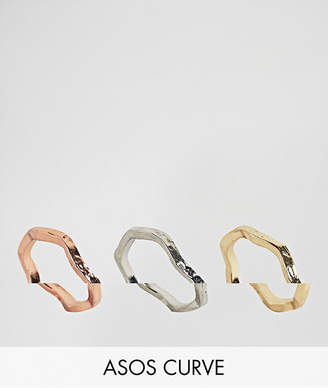 Asos Pack of 3 Hammered Stacking Rings