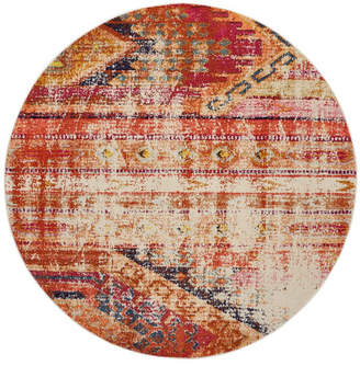 "Safavieh Monaco Orange and Multi 6'7"" x 6'7"" Round Area Rug"
