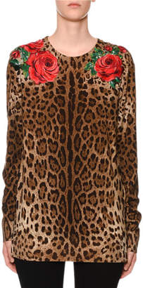 Dolce & Gabbana Long-Sleeve Rose & Leopard-Print Knit Sweater
