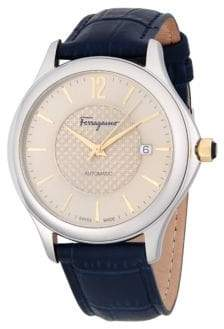 Salvatore Ferragamo 41MM Stainless Steel Automatic Leather Strap Watch