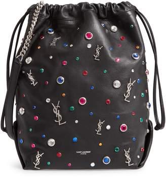 Saint Laurent Teddy Studded Leather Bucket Bag