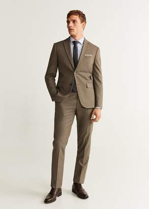 MANGO Slim fit microstructure suit trousers