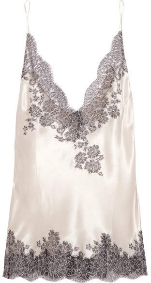 Carine Gilson Chantilly Lace-trimmed Silk-blend Satin Camisole - Cream