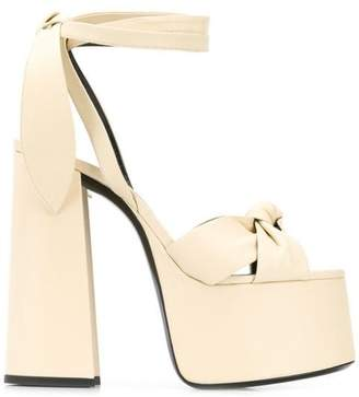 92c8a4c5bb4a Saint Laurent Platform Chunky Heels with Ankle Ties