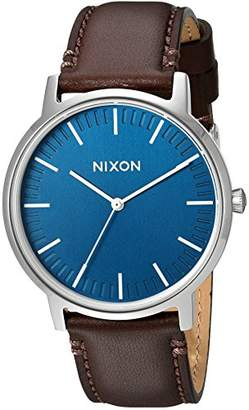 Nixon Porter Leather A1058879-00. Brown Leather and Navy Men's Watch (20-18mm Brown Leather Band and Navy 40mm Watch Face)