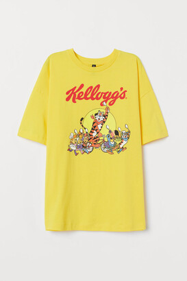 H&M T-shirt with Printed Design - Yellow