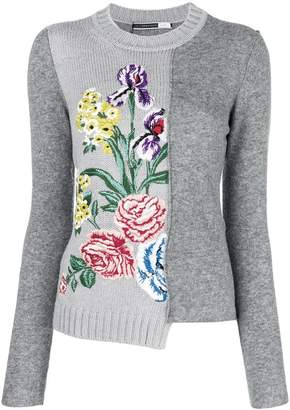 Sportmax Code asymmetric floral embroidered sweater
