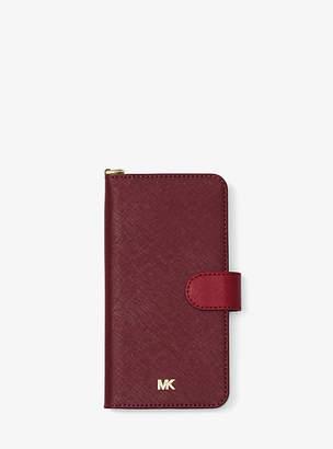 Michael Kors Color-Block Saffiano Leather Folio Case For Iphone 7/8 Plus
